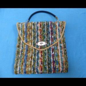 Vintage Carpet Bag 1960's Candy Stripe Original